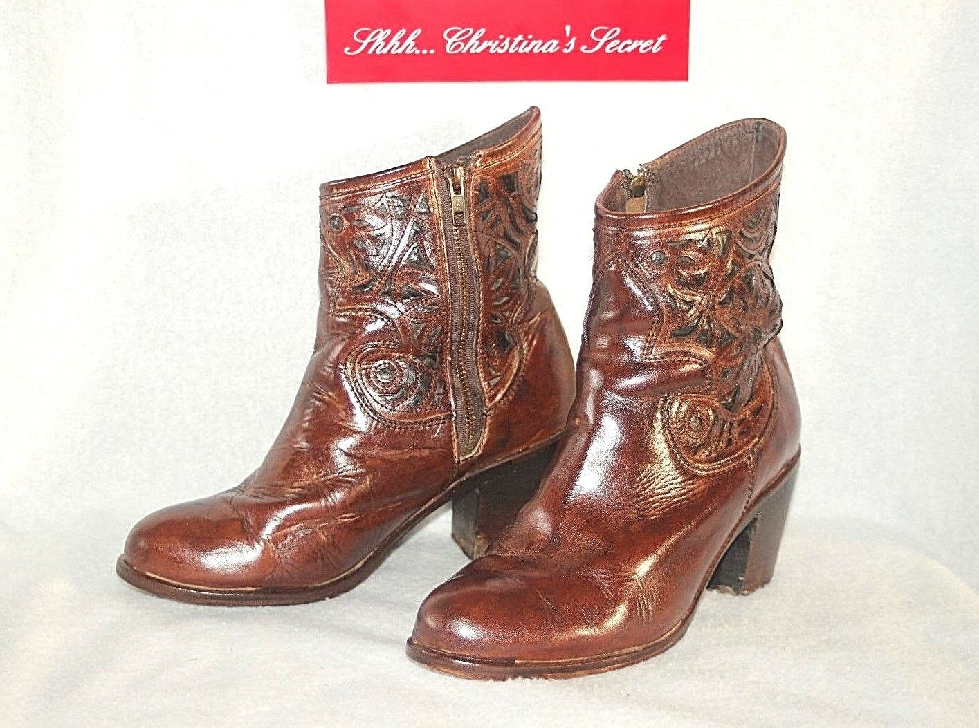 cf1d6e4c0c864 CORRAL BOOTS MEXICO Artisan Handmade Brown Leather Women's Ankle ...