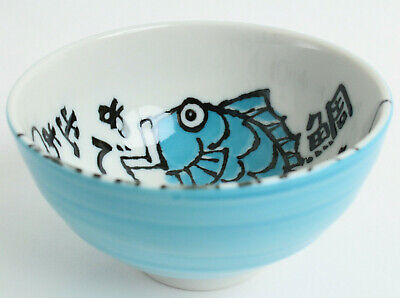 - Mino ware Japanese Ceramics Rice Bowl Sky Blue Sea Bream Medetai