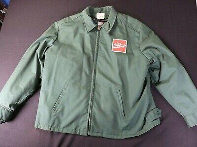 VTG Coca Cola Full Zip Work Jacket Mens M 48L Green Riverside USA Coke Coat