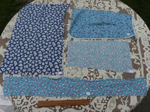 Lot of 4 Vintage Cotton Floral Feedsack Fabrics c1930-1940