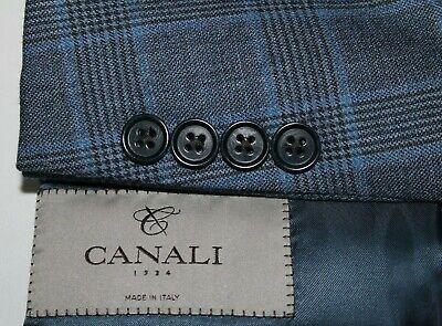 CANALI 1934 Men's US 42L Blue & Black Windowpane Wool Made in Italy Sport Coat