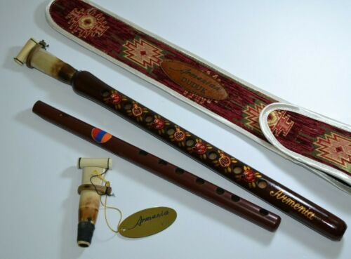 Armenian duduk with beautiful national ornament + 2 reeds + flute gift