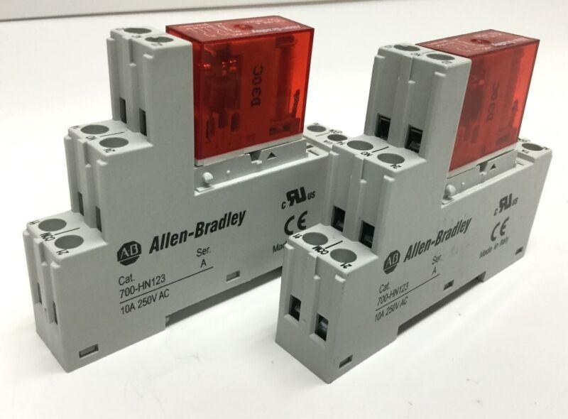 Lot of 2 Allen Bradley 700-HPSXZ1 Safety Relay DPDT 110VDC w/ 700-HN123 Socket