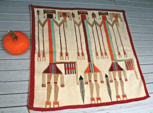 VTG Southwestern handmade Native American Navajo Wool YEI Rug Textile Weaving