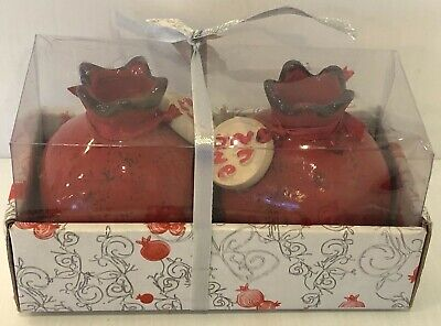 2 Red pomegranates are decorated and sculpted Decorative Jewish Pottery Ceramic Sculpture Judaica Handmade In Israel