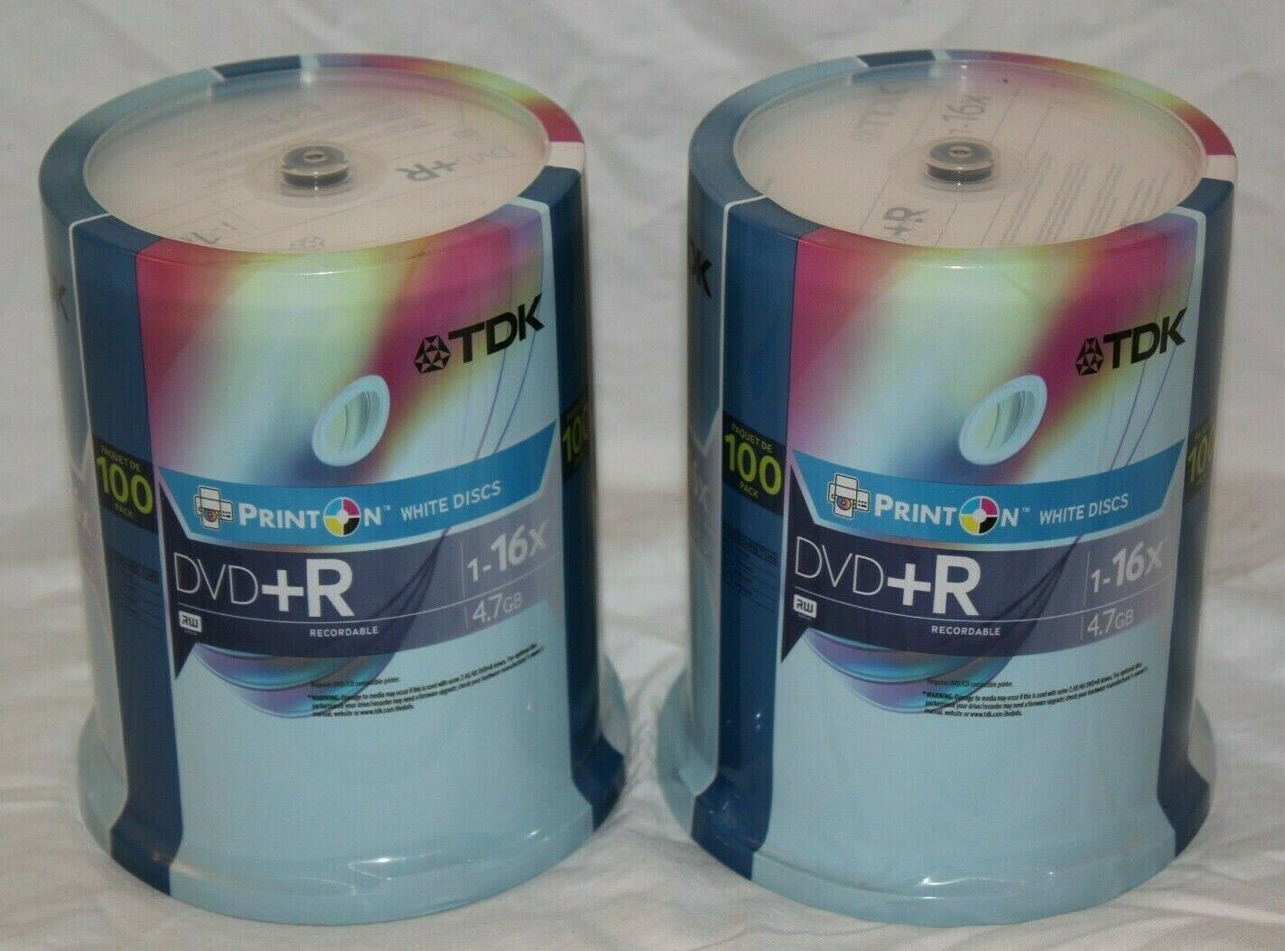 200 TDK DVD+R Recordable Print On White Discs 1-16x 4.7GB NE