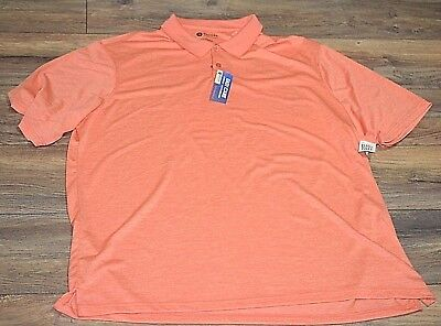 Hot Coral Haggar Quick Dry Easy Care UPF Big & Tall Cool 18 Golf Shirt Polo (Big And Tall Quick Dry Polo Shirts)