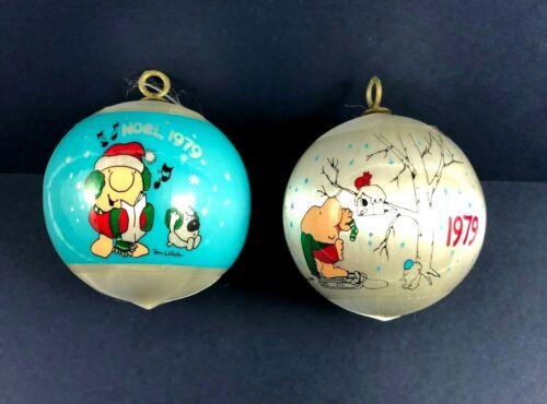 Lot of 2 Ziggy Christmas Ornaments 1979 - Satin Balls Ziggy NOEL Decorating