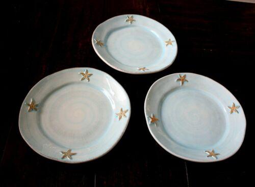 "Pottery Barn STARFISH Dinner Plates Set of 3 Light Blue Italy 11-1/2"" Crazing"