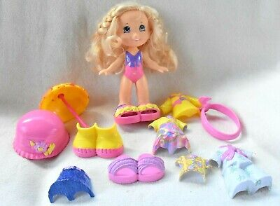 Fisher Price SNAP N STYLE Doll & Clothes Lot Blonde Karate Rain