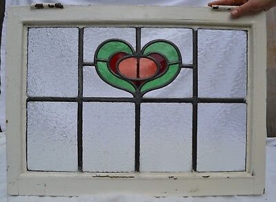1 British leaded light stained glass window panel. R845. ABOVE DOOR SIZE!