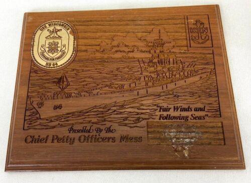 Vintage USS Wisconsin BB-64 Chiefs Mess Plaque