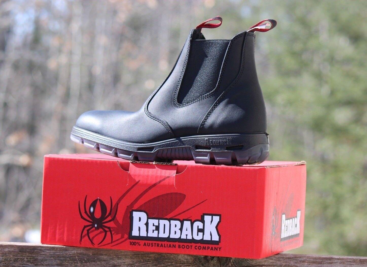 NEW Redback UBBK Men's Easy Escape Soft Toe Work Boots NIB Genuin Black Leather