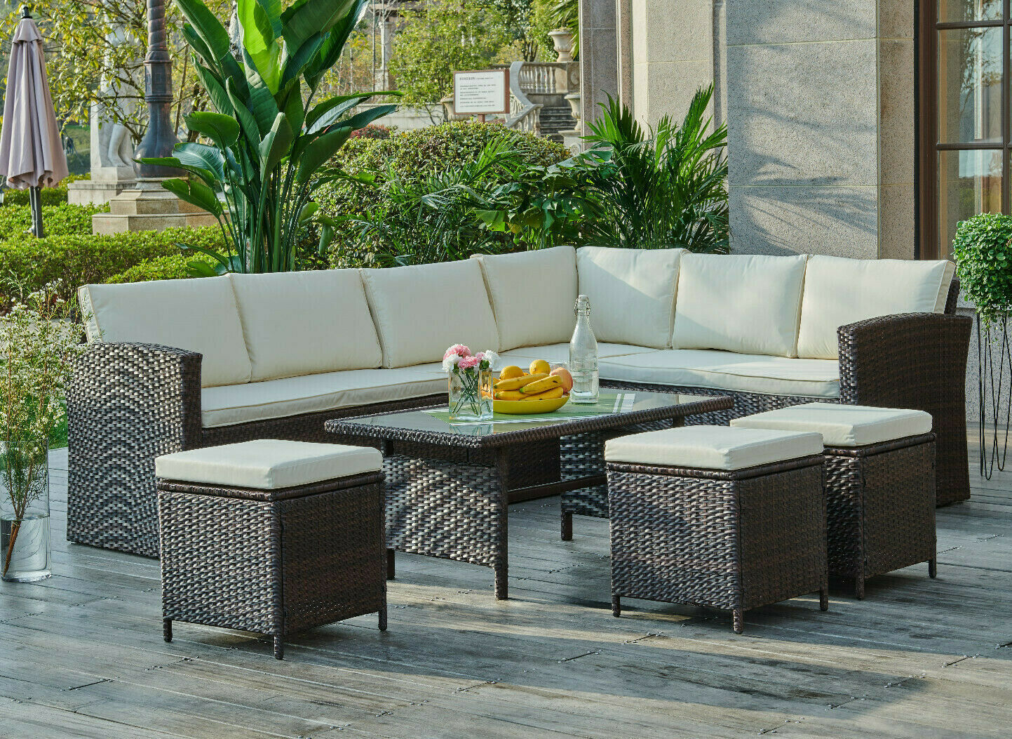 Garden Furniture - Rattan Corner Garden Furniture Set Black Brown Grey Dining or Coffee Table