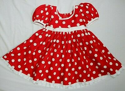 MINNIE MOUSE RED WHITE POLKA DOT PARTY DISNEY DRESS GIRLS 4T4Y FULL SKIRT