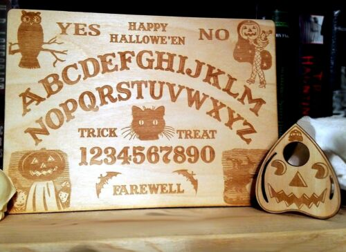 Wooden Vintage Halloween Ouija Board & Planchette | Handmade Wood Spirit Board