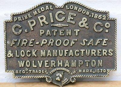 Antique C.PRICE & CO, WOLVERHAMPTON Brass Safe Plaque