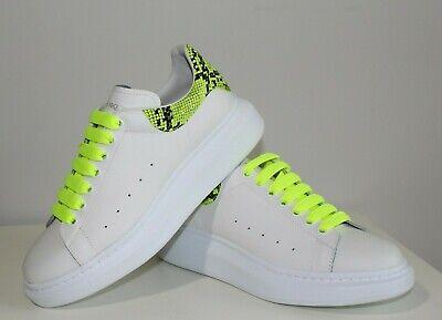 Brand-new Men's Alexander McQueen White/Neon Green Larry Sneakers in US 10