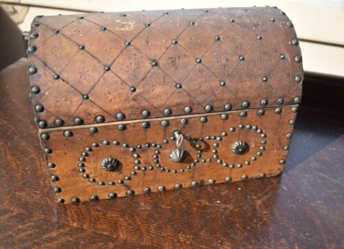 Small Mini Antique Domed Wood & Leather Chest, Primitive Jewelry Trinket Box