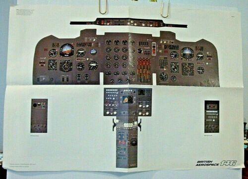 BRITISH AIRWAYS POSTER BA 146 FLIGHT DECK AEROSPACE 2-SIDED ORIGINAL 1987
