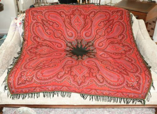 "Antique Kashmir Wool Red Paisley Shawl-Christmas Tablecloth c1880~55"" Square"