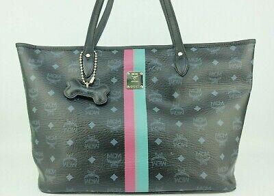 100% Authentic MCM Black Visetos Large Shopper Shoulder Tote Bag With Dust Bag