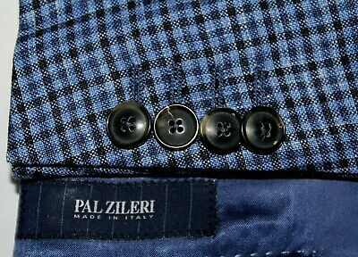 PAL ZILERI 180 Phases Made in Italy 54 / 42R Wool Silk Linen Blues Check Blazer