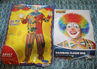 CLOWN Costume with Wig OSFM - Adult up to 42