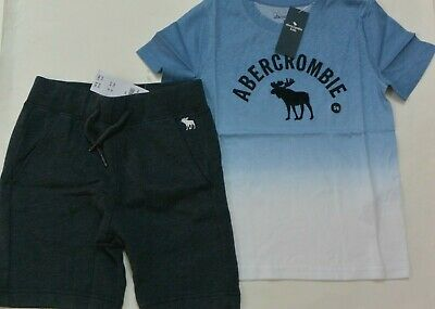 Abercrombie Kids Boys 5/6 Blue Ombre Top Shirt & Shorts 2-PC Set NWT New