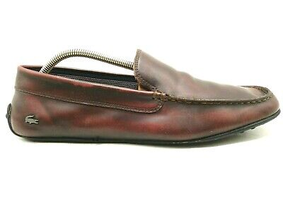 Lacoste Logo Burnished Brown Leather Casual Driving Loafers Shoes Men's 10.5