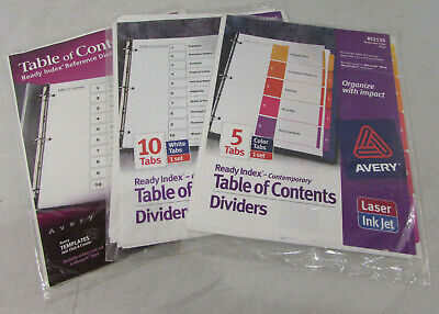 Lot Of 3 New Avery 5 Color Table Of Contents Dividers 2 10 Tab White Dividers