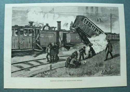 L1e%29+Holzstich+Earl%C2%B4s+Court+Station+London+1885+Railway+Eisenbahn+Ungl%C3%BCck+Zug+%2B%2B