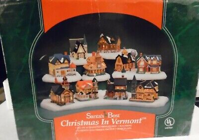 Santa's Best CHRISTMAS IN VERMONT Village 10 Porcelain Collectibles, 10 Extra
