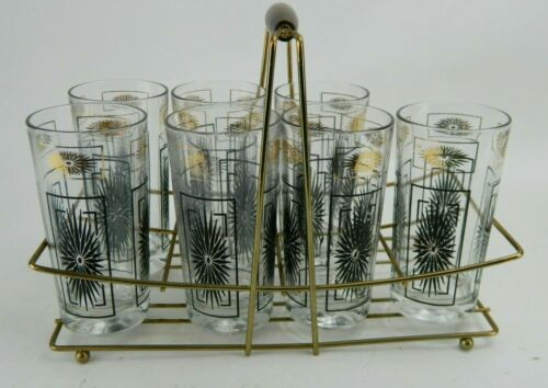 VTG Black Starburst with Gold Glasses w/ Carrier 7 Piece Set Mid-Century Modern
