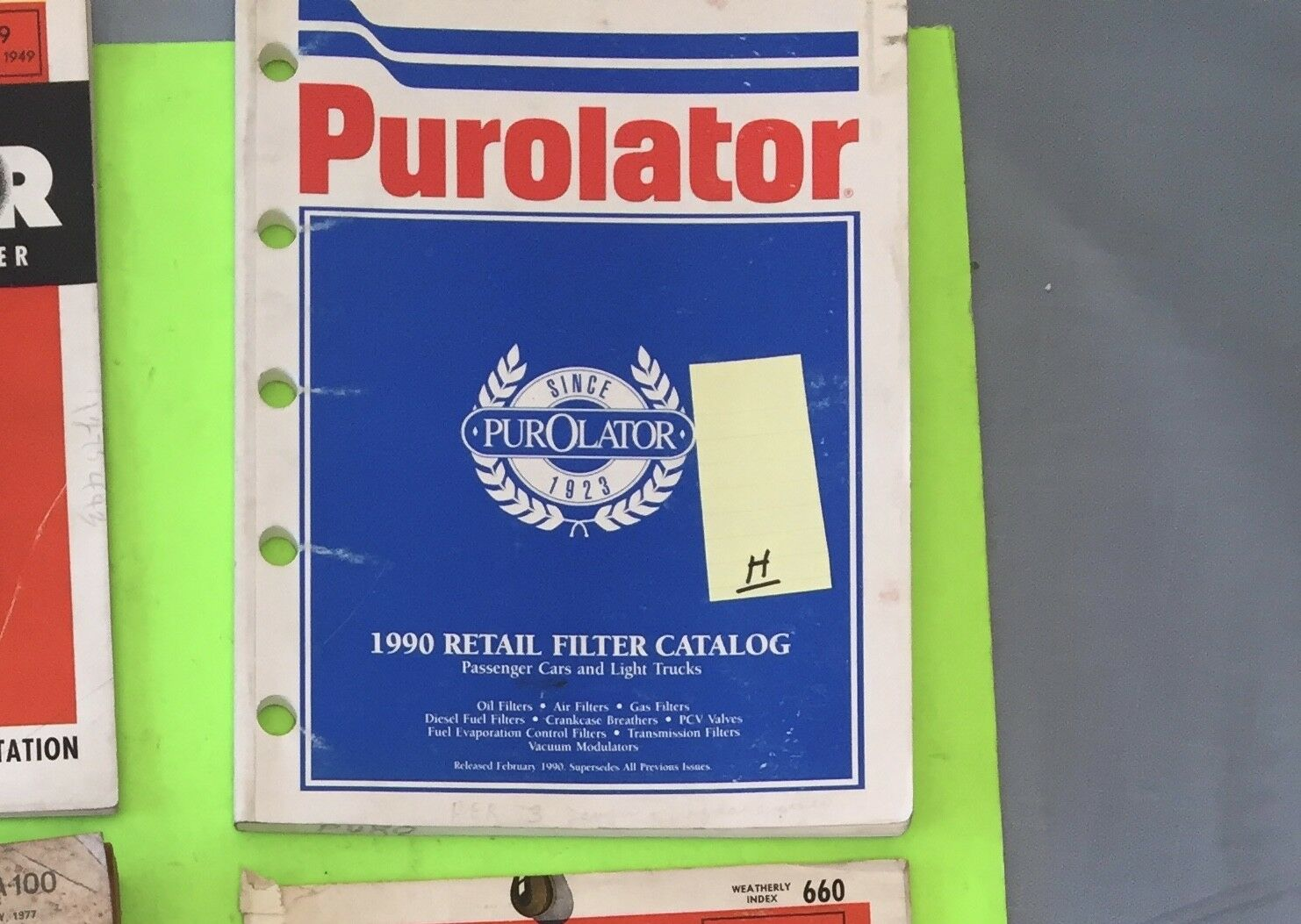 Purolator retail filter catalog.  1990.     Item:  9215h