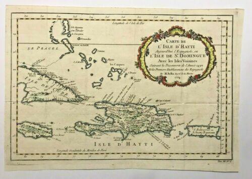 HAITI SANTO DOMINGO CARIBBEAN 1754 NICOLAS BELLIN NICE ANTIQUE MAP 18TH CENTURY