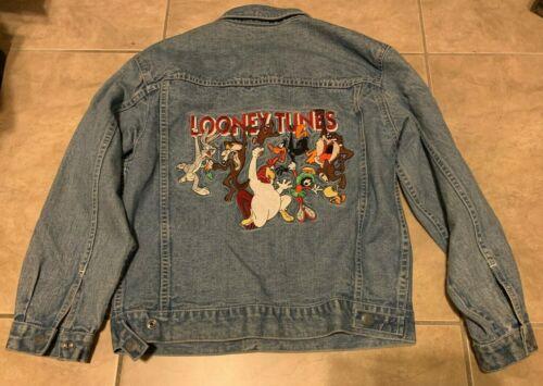 Vintage Warner Bros Studio Store Looney Tunes Character Denim Jacket Youth L