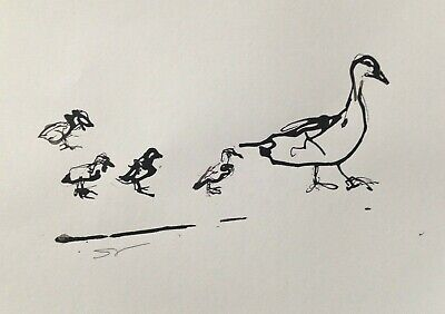 Ducks in a row - Original signed Ink sketch painting of Duck and chicks