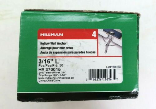 "Hillman 370015 Hollow Wall Anchor 3/16"" 50 Piece Combo Anchors New Case"