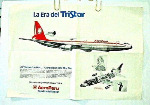 AERO PERU AIRLINES CUTAWAY POSTER L-1011 Super TriStar Jet ORIGINAL 1980