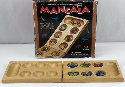 Vintage 1996  MANCALA Hinged Game Board W/ Marbled Glass Game Pieces (Mancala Marble Game)