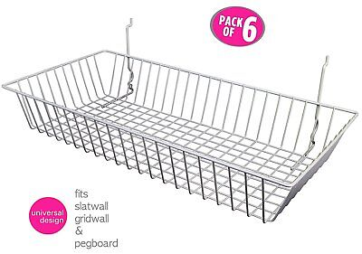 6 Pcs - 24 X 12 X 4 Baskets For Gridwallslatwallpegboard - White