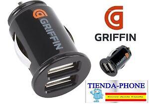 ADAPTADOR-CARGADOR-DUAL-DOBLE-USB-MECHERO-PARA-IPHONE-5S-COCHE-GRIFFIN-2A