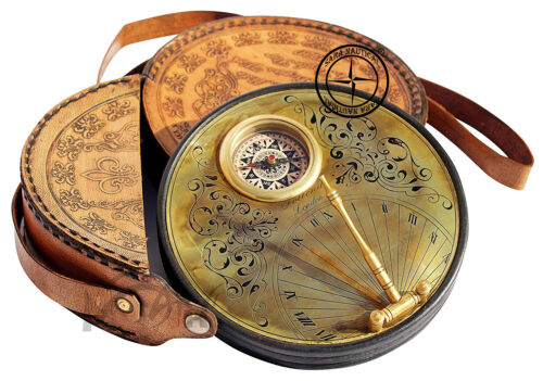 6.5 Inch Brass Sundial Compass with Leather Case - Steampunk Accessory Handmade