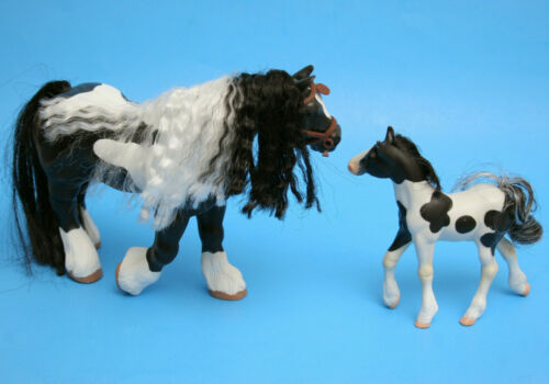 GC Grand Champion Horse Gypsy Vanner Mare & Gypsy Vanner Fair Skies Foal Figure