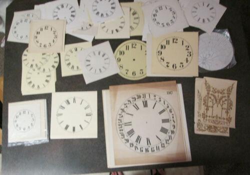 "Large Lot Paper Clock Dials Over 125 pcs. 5"" to 11""  (718A)"