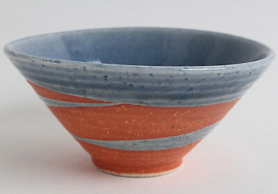 - Mino ware Japanese Pottery Rice Bowl Sky Blue Glaze on Orange Crackled