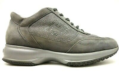 Hogan Gray Leather Jeweled Athletic Fashion Sneakers Shoes Women's 35.5 / 5.5