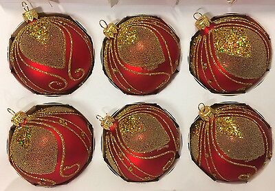 """Polish Red Glittery Gold 3"""" Ball Glass Christmas Ornaments Set 6 Mouth blown"""