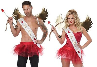 Cupid Costume Men (Valentine's Day Sexy Cupid Costume Kit Men's or Women's Wings Tutu Sash OS)